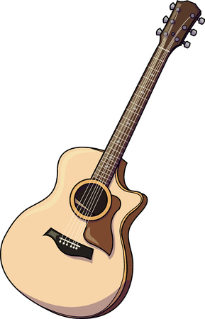Vector illustration of a typical classic musical instrument, the guitar. Illustration