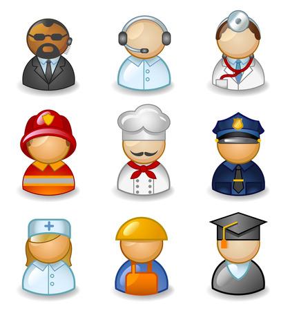 diferentes profesiones: Los iconos estilizados de diferentes profesiones