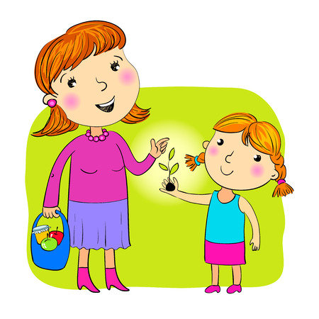 pre teen: The daughter giving to mother a sprout Illustration