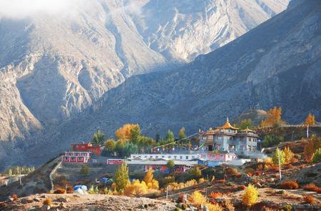 nepali: Nepali village of Muktinath along the Annapurna circuit trail. Stock Photo