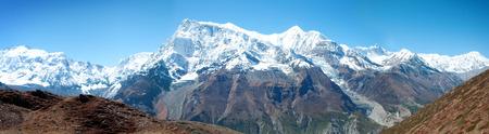 majestic mountain: Nepal, Panoramic view of majestic mountain Annapurna Stock Photo