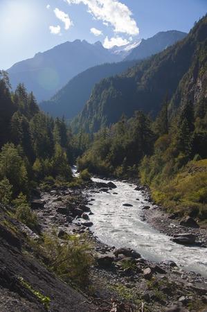 nepali: Nepali landscape, river in the Himalaya mountains