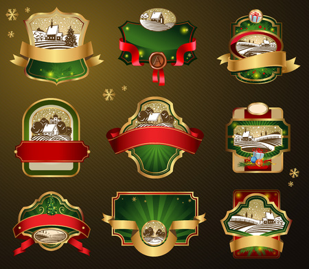 Christmas labels with lovely winter landscape for greeting cards, banners, presentations, decorations. Easy to edit all pieces are separated. Illustration