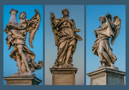 sudarium: ANGELS tryptic 3, Saint Angel bridge, Rome - Angel with the Column  Throne   Antonio Raggi  - Angel with the Nail  Girolamo Lucenti  - Angel with the Sudarium  Veronica�s Veil   Cosimo Fancelli  Stock Photo