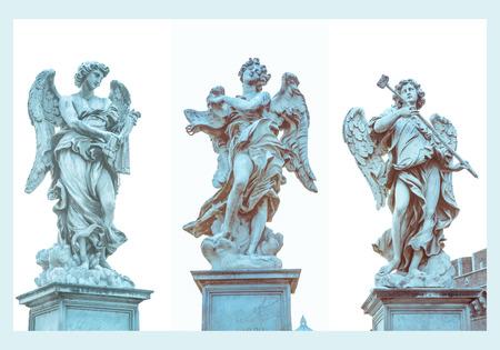 inri: ANGELS triptych 2, Saint Angel bridge - Angel with sponge of vinegar Antonio Giorgetti, Angel whisk Lazzaro Morelli, Angel with the titulus INRI by Giulio Cartari