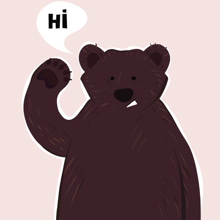 Funny vector illustration with cute bear and word - hello. Vintage style typography poster with quote. Greeting card design, t-shirt print, invitation template