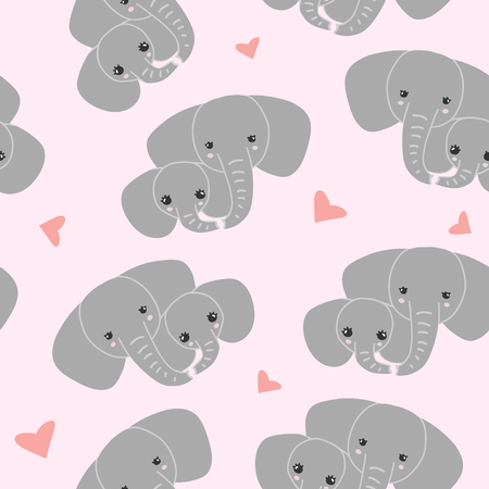 Cute family elephants pattern. Vector simple seamless background for kids.