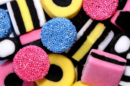 liquorice: A close up of licorice allsorts sweets. Editorial