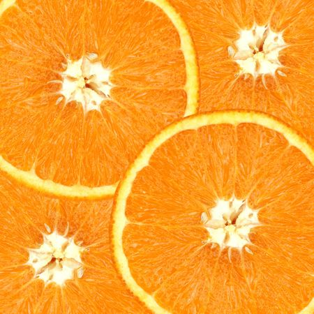 Four overlapping slices of orange. Stock Photo