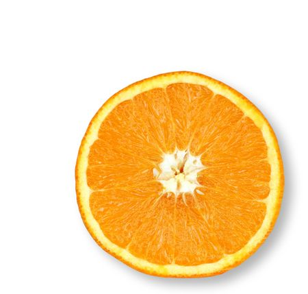 Half an orange isolated on a white background.