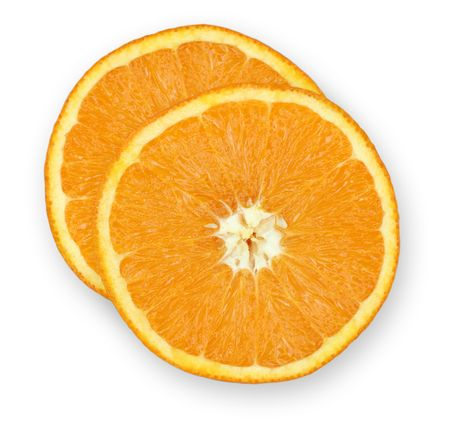 folate: Two slices of orange on an isolated white background. Stock Photo