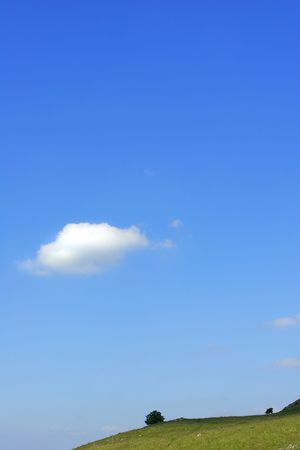 One small cumulus cloud in a blue sky with a low horizon of a hillside and two small trees.