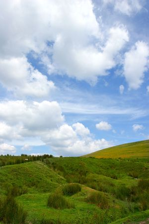 cumulus: Cumulus clouds above a reed and grass hill. Stock Photo