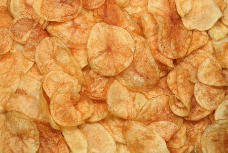 Golden potato crisps.