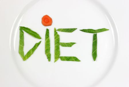 meagre: The word diet spelt out in lettuce leaves and a carrot section, on a white china plate.