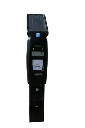 parking ticket: Solar powered pay and display car parking ticket machine, isolated.