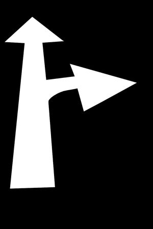 White arrow pointing ahead with a  right turn arrow pointing right on a black background. photo