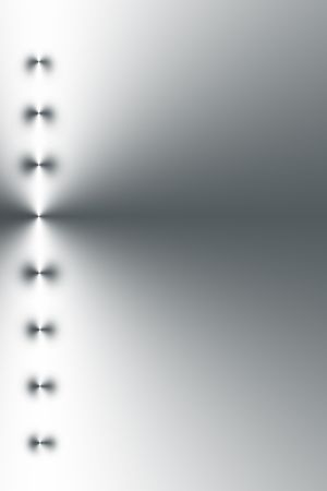 alluminum: Eight points of light in a vertical l line, left side bias, on a silver grey and white gradient background.