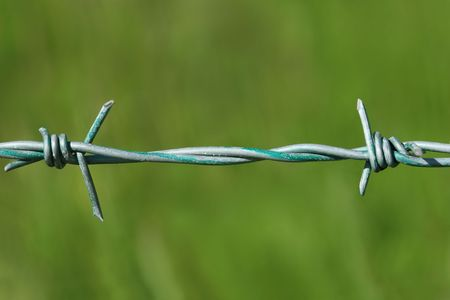 Close up of one strand of green metal barbed wire, with a green background. photo
