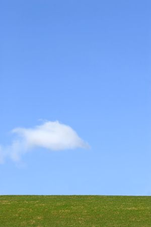 Landscape of grass against a clear blue sky with one alto cumulus cloud. photo