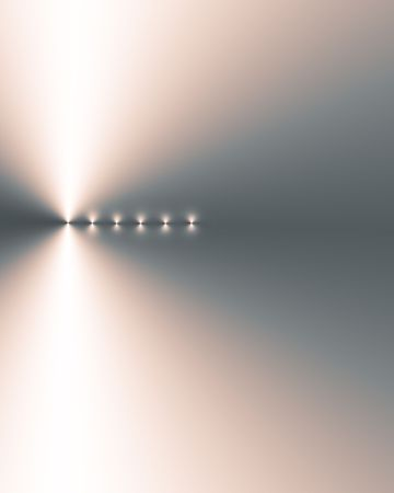 bias: Abstract illustration of six points of light in a vertical line, left side bias,  on a silver grey and coral pink gradient background. Stock Photo