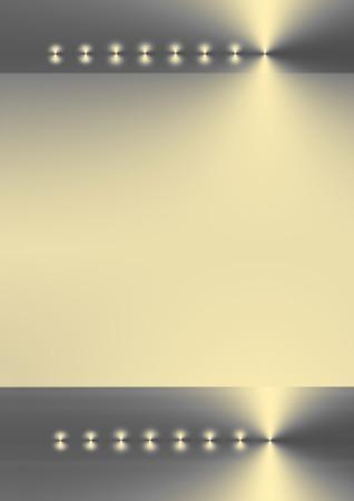 axis: Dos bandas de plata, el oro y el gradiente de color gris con ocho puntos de luz sobre un eje horizontal con un gradiente de oro p�lido zona central entre los dos.