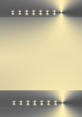 Two bands of silver, gold and grey gradient color with eight points of light on a horizontal axis with a pale gold gradient central area between the two. Stock Photo - 1629582