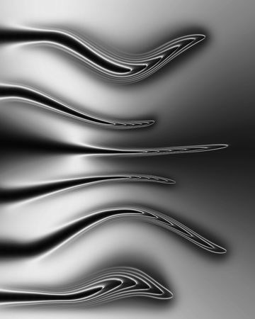 bias: Abstract design with six curved lines, on a left hand bias, set against a silver and dark grey background. Stock Photo
