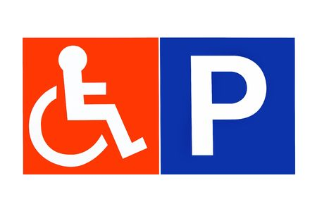 Signe de stationnement désactivé en orange et bleu, sur blanc.  Banque d'images - 1849651
