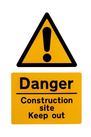 Construction site warning signs in yellow and black, over white.