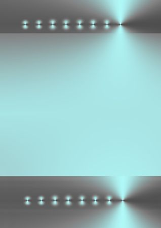 Two bands of eight points of light on a horizontal axis both on silver and cyan  backgrounds, with a pale cyan gradient center area between the two. Stock Photo - 1935964