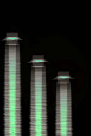 contributing: Abstract of three high rise towers with green  heat glow emmisions against a black background. Green emissions symbolising low carbon emissions and low carbon footprint.