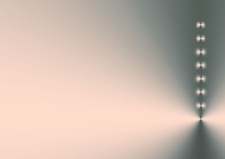 bias: Eight points of light in a vertical line, right side bias, on a silver grey and pink gradient background. Stock Photo
