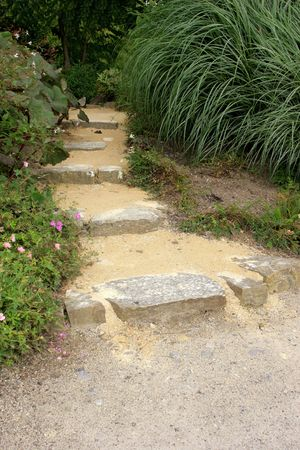 Old stone garden path with shrubs and flowers on either side. photo