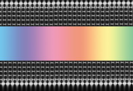 Abstract illustration of silver and black mesh on a horizontal axis with a soft rainbow spectrum central section. illustration