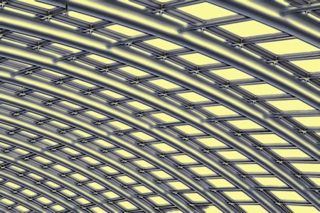 joists: Abstract in shades of silver, yellow and black of the curved reinforced steel roof joists in a conservatory with glass panes in between.
