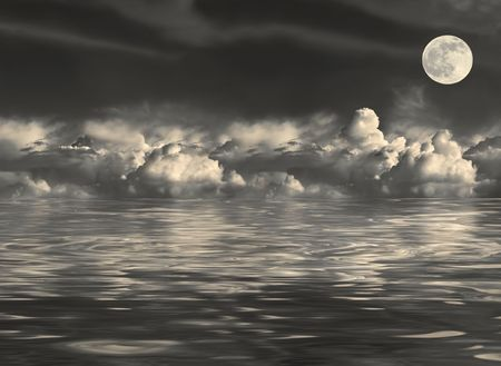 Abstract of a stormy night sky with cumulus clouds and a golden full moon on the spring equinox, reflected over water. Stock Photo - 2338477