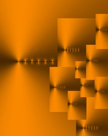 echoes: Abstract of ten overlaid burnished gold and dark grey rectangles of various sizes, with six points of light in a horizontal line on each.