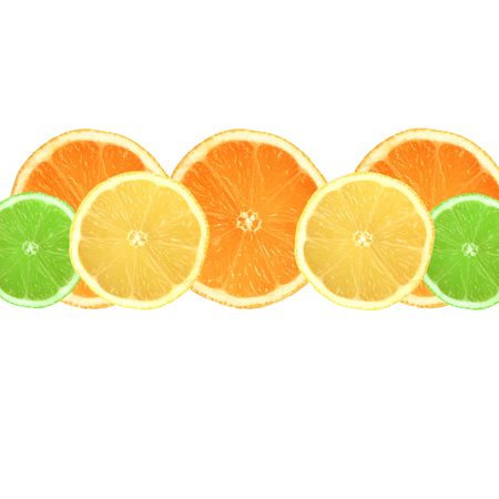 pith: Lemon, lime and orange citrus fruit slices in a horizontal central line and set against a white background.