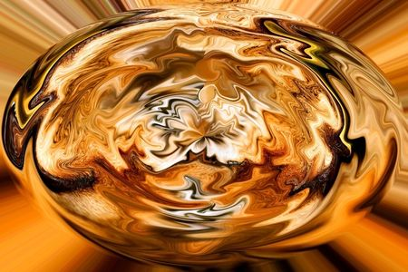 egg shaped: Surreal abstract egg shaped form, in the colors of fire. Set against an orange, brown and gold  lined background. Stock Photo