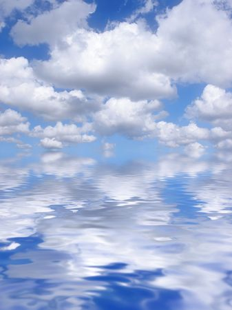 cumulus: Abstract of a blue sky with alto cumulus clouds reflected over water.