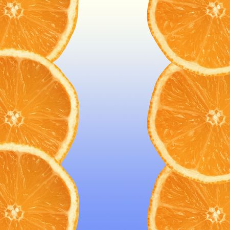 pith: Six fresh orange slices, three on each side on a vertical axis, with a blue and white gradient center in between. Stock Photo