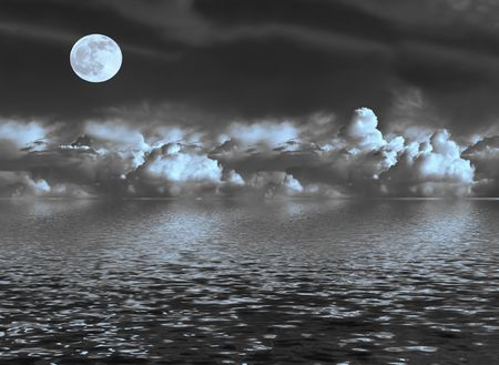 panoramic sky: Abstract of a stormy night sky with blue tinged cumulus clouds and a full moon on the spring equinox, reflected over water.