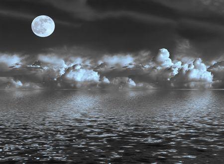 mares: Resumen de una noche tormentosa cielo azul con nubes te�idas cumulus y una luna llena en el equinoccio de primavera, que se refleja sobre el agua.