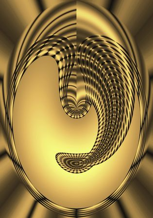 Abstract oval mask design in gold and black mesh. Stock Photo - 2699139