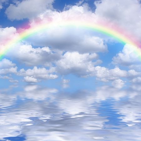 alto: Abstract of a blue sky and rainbow with alto cumulus clouds reflected over water.