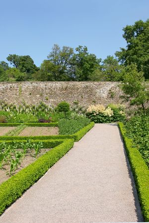 hedged: Pathway through a walled garden, with vegetable and flower beds bordered by clipped low hedges. Set against a blue sky and trees to the rear.