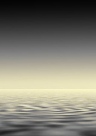 rippled: Abstract of a black, gray and gold sky reflected over rippled water.