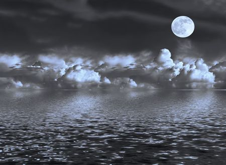 Abstract of a stormy night sky with blue tinged cumulus clouds and a full moon on the spring equinox, reflected over water.