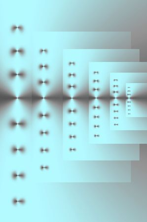 six point: Abstract design in  silver cyan and gray of six repeating rectangles of various sizes.